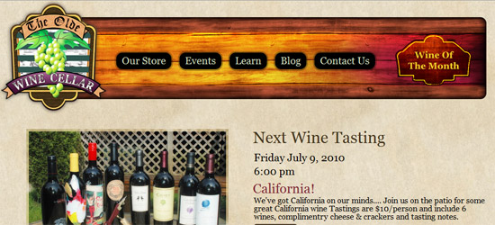 The Olde Wine Cellar Web Site Preview.